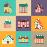 Colorful residential house set in flat design. Colorful residential house set vector illustration in flat design. Private residential architecture, cottage, real Stock Photos