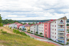 Colorful residential neighborhood surrounded by nature Stock Photography