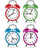 Colorful retro alarm clocks Stock Image