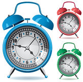 Colorful retro alarm clocks Stock Images
