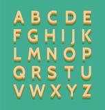 Colorful retro alphabet. Vintage 3d letters on green background stock illustration