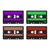 Colorful retro audio cassettes. Retro audio cassette in violet, green, brown and red Stock Photography