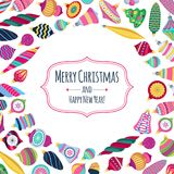 Colorful retro baubles background. Decorative christmas tree balls. Royalty Free Stock Photo