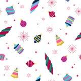 Colorful retro baubles background. Decorative christmas tree balls. Stock Image