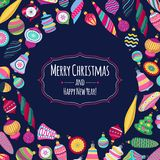 Colorful retro baubles background. Decorative christmas tree balls. Royalty Free Stock Photography