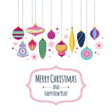 Colorful retro baubles background. Decorative christmas tree balls. Stock Image