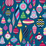 Colorful retro baubles background. Decorative christmas tree balls. Colorful retro baubles seamless background. Vintage christmas tree balls pattern. Good for Stock Image