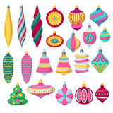 Colorful retro baubles set. Decorative christmas tree balls. Royalty Free Stock Images