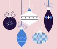 Colorful retro Christmas balls collection ( blue ) Stock Image