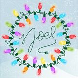 Colorful Retro Christmas Lights on a snowy background. royalty free illustration