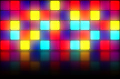 Colorful retro dancefloor backdrop. Colorful 80s club dancefloor background with glowing light grid Stock Photography