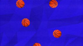 Colorful retro falling basketballs animation on a blue geometric background with a analogue interference and grain texture overlay