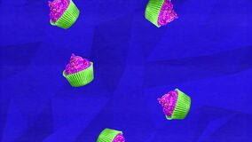 Colorful retro falling cupcakes animation on a blue geometric background with a analogue interference and grain texture overlay