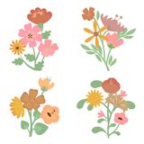 Colorful Retro Flower Collection Royalty Free Stock Photos