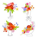 Colorful Retro Flower Collection Stock Image
