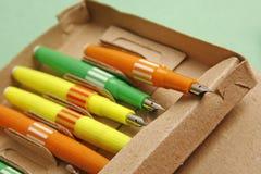 Colorful retro fountain pens Royalty Free Stock Photos