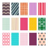 Colorful Retro Geometric Textile or Paper Backgrounds Set. Vector Graphic Design Backdrops Elements Collection. Abstract Flat Patterns with Simple Ornaments stock illustration