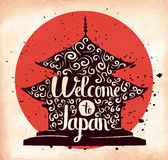 Colorful retro hand lettering is a poster on the theme of travel and adventure abroad. Familiarity with the culture of Japan. Vect Royalty Free Stock Photo