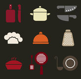 Colorful retro minimal kitchen cookware icon set Royalty Free Stock Image