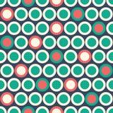 Retro Mod Vector Seamless Polka Dot Pattern in red, green, cream on dark blue background. Stylish Classic Print stock illustration