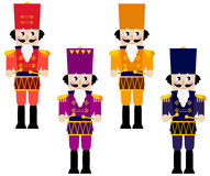 Colorful retro Nutcrackers set isolated on white. Tin soldiers with drum collection. Vector illustration Stock Images