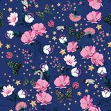 Colorful Retro pink blooming flowers in the night with insect,bees,butterfly,ladybug,with vintage stars seamless pattern vector r. Epeat for fashion ,fabric and stock illustration