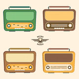 Colorful Retro Radio Set. Flat Design. Vector Royalty Free Stock Images