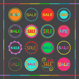 Colorful retro retail and shopping SALE tags icons set Royalty Free Stock Image