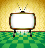 Colorful retro room with TV Stock Photography