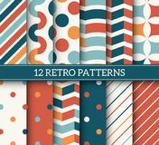 Colorful Seamless Patterns. Colorful retro seamless vector patterns collection. 12 colorful old style textures Royalty Free Stock Photography