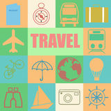 Colorful retro set of travel Royalty Free Stock Images