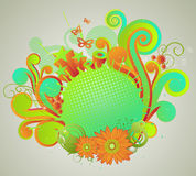 Colorful retro style design. With scrolls and flowers Stock Images