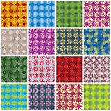 Colorful retro style tiles seamless patterns set. Stock Image
