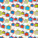 Colorful retro style TV sets seamless background, vector illustr Stock Photos