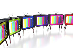 Colorful retro tv's Stock Photo