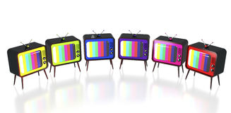 Colorful retro tv's Royalty Free Stock Photography