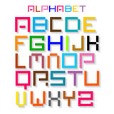 Colorful Retro Vector Alphabet. ABC Simple Digital Set Isolated on White Background Royalty Free Illustration