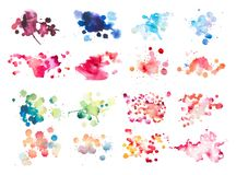 Colorful retro vintage abstract watercolour aquarelle art hand paint on white background.  royalty free stock images