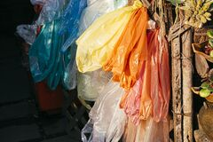 Free Colorful Reusable Plastic Bags. Plastic Dry Cleaning Bags Royalty Free Stock Image - 214186316