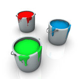 Colorful RGB paint in pots Royalty Free Stock Images