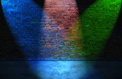 Colorful RGB spot lights on brick wall. Colorful RGB spot lights on old brick wall Royalty Free Stock Photos