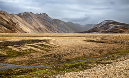 The colorful rhyolite mountains of Landmannalaugar stock image