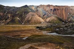 The colorful rhyolite mountains in Iceland Stock Photos