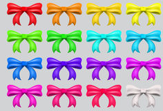 Colorful ribbon bows. Red, pink, blue, gold - all colors collection Royalty Free Stock Images