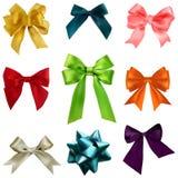 Colorful ribbon bows set Royalty Free Stock Photos