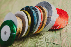 Colorful ribbon rolls Stock Photo