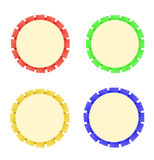 Colorful ribbon rosette is symbol for success and first prize Stock Images