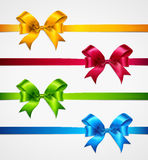 Colorful ribbons with bows on a white background. Vector illustration.  Royalty Free Stock Photos