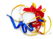 Colorful ribbons,card,add text Stock Image
