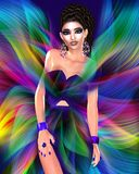 Colorful ribbons create a modern fashion, hair and beauty scene. With a 3d rendered digital model walking the runway. A colorful matching dress and accessories stock illustration